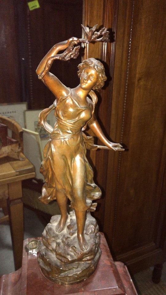 Orologio liberty da tavolo con figura femminile-3