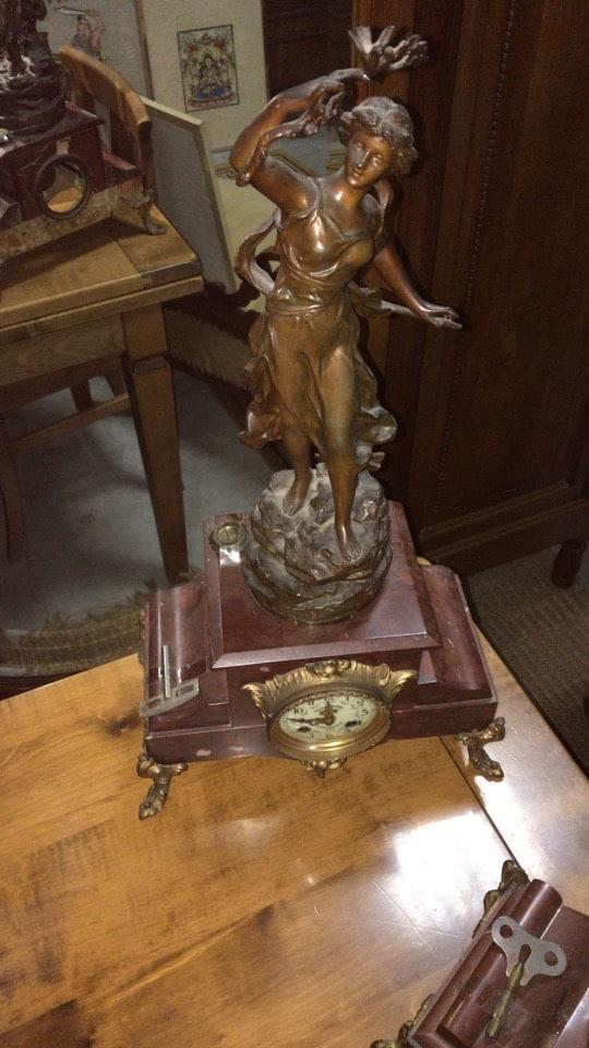 Orologio liberty da tavolo con figura femminile-4